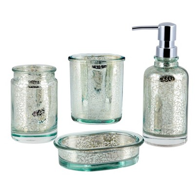4pc Athena Lotion Pump/Toothbrush Holder/Tumbler/Soap Dish Set Blue/Silver - Allure Home Creations