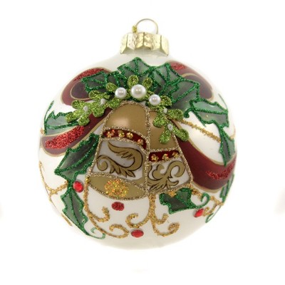 "Holiday Ornament 4.25"" Poinsettia Bell Ball Christmas Holly  -  Tree Ornaments"