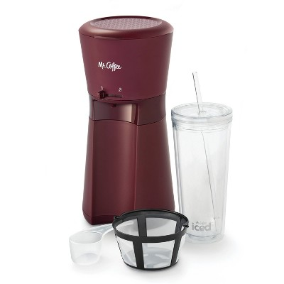 Mr. Coffee Iced Coffee Maker with Reusable Tumbler and Coffee Filter - Burgundy