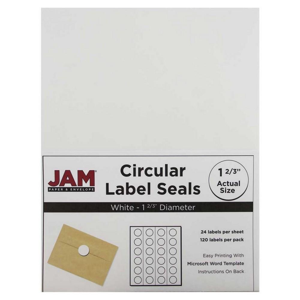 JAM Circle Sticker Seals 1 2/3 120ct - White
