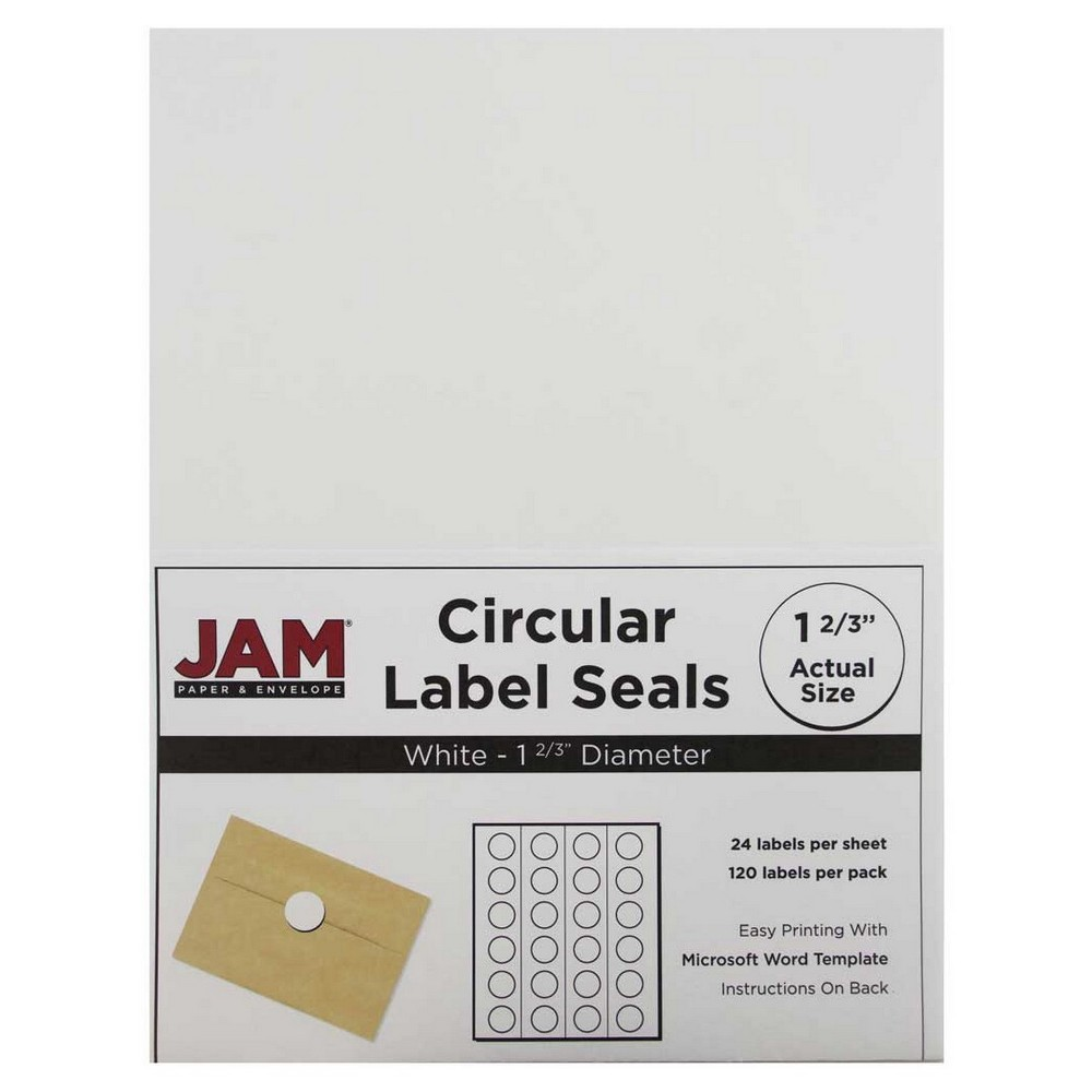 Jam Paper Circle Sticker Seals 1 2/3 120ct - White