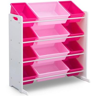 Delta Children Kids' Toy Storage Organizer with 12 Plastic Bins - White/Pink