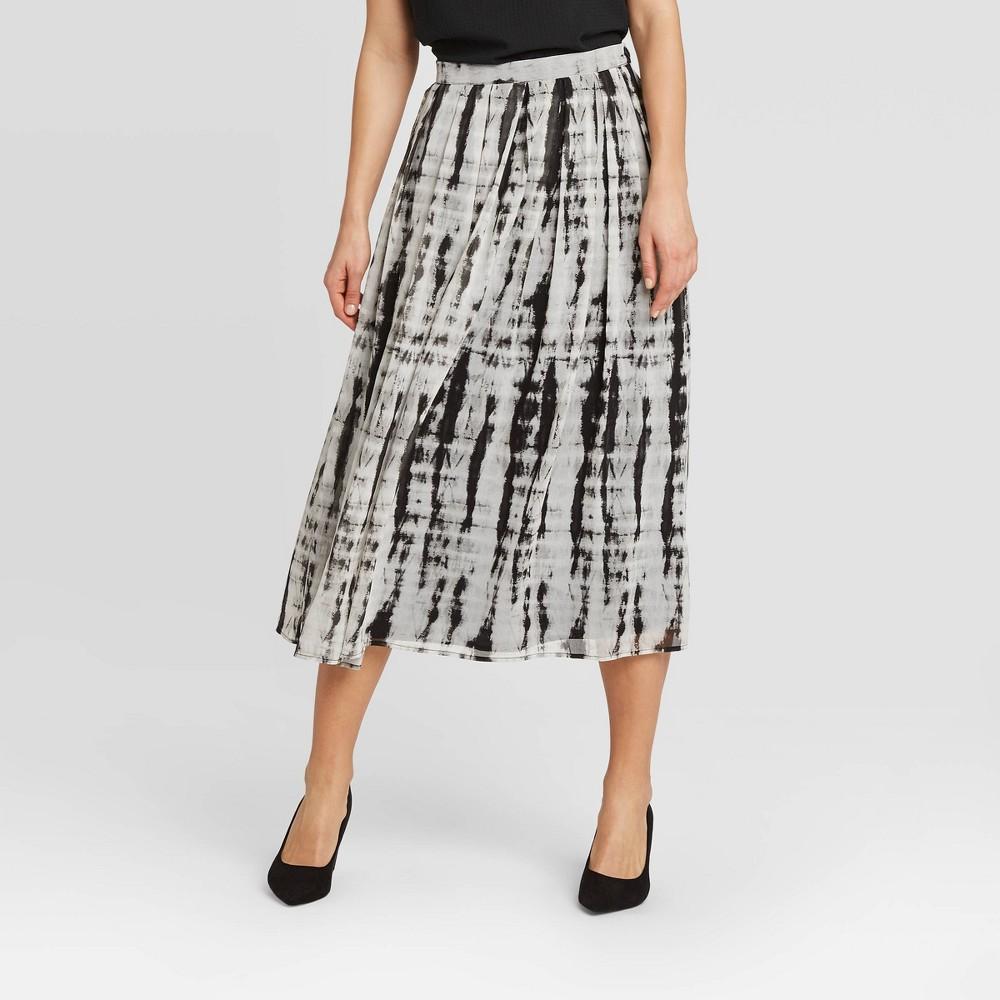 Image of Women's Low-Rise Tie-Dye Flowy Midi Skirt - Who What Wear Black 12, Women's