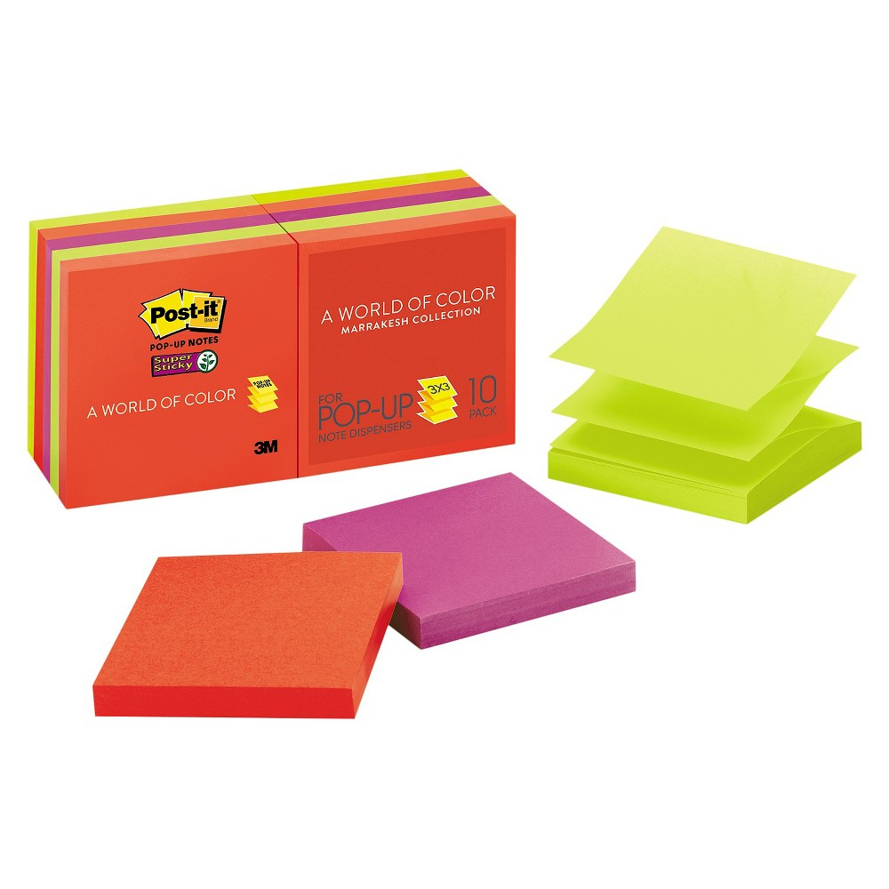 Post - it Pop - up Notes Super Sticky Pop - Up Notes - 3 x 3 - Multi-Colored (90 Sheet Pads Per Pack)