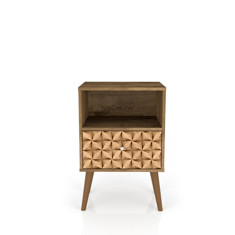 Image of Liberty 1.0 Mid Century Modern Nightstand With 3D Brown Prints Rustic Brown Rustic Brown - Manhattan Comfort