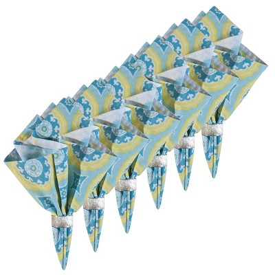 C&F Home Delilah Blue Cotton Reversible Napkin Set of 6