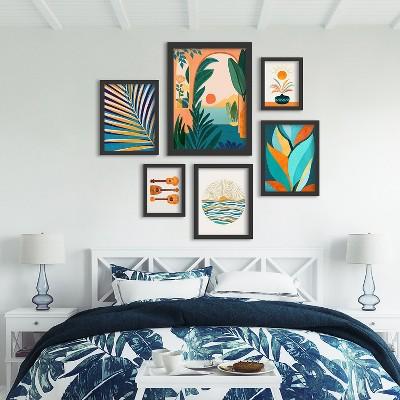 Americanflat Ocean View by Modern Tropical 6 Piece Framed Gallery Wall Art Set