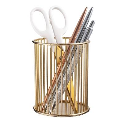 Zodaca Luxury Gold Metal Wire Pen Holder for Desk Pencil Makeup Brush