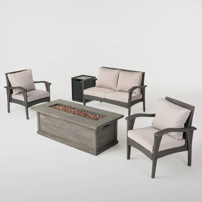Honolulu 5pc Wicker Chat Set with Fire Pit - Gray/Light Gray/Gray - Christopher Knight Home