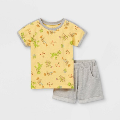 Toddler Boys' Toy Story Short Sleeve French Terry Top and Bottom Set - Yellow