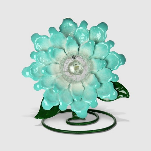 """10"""" Resin Solar Metal And Glass Spring Flower Teal L - Exhart - image 1 of 2"""