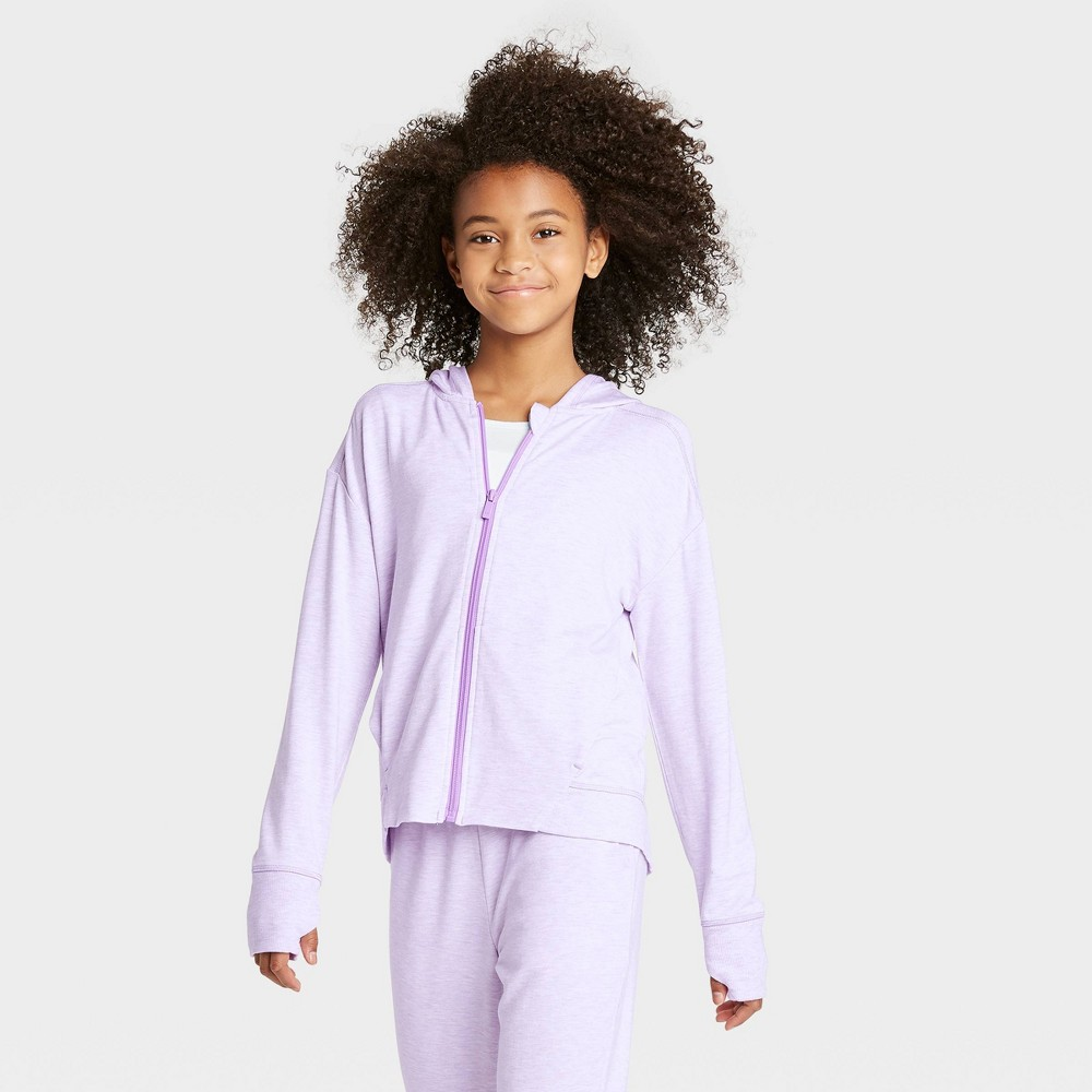 Girls' Soft French Terry Full Zip Hoodie Sweatshirt - All in Motion Purple L, Girl's, Size: Large was $24.0 now $16.8 (30.0% off)
