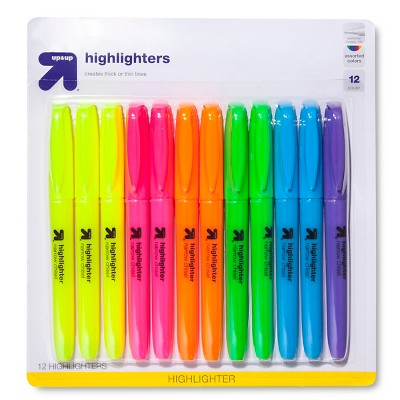 Highlighters Narrow Chisel Tip Multicolor 12ct - Up&Up™