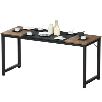 Costway 63'' Dining Table Rectangular Two-Tone Kitchen Table For 6 People w/ Metal Frame