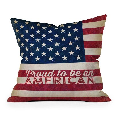 "16""x16"" Anderson Design Group 'Proud to be an American Flag' Square Throw Pillow Red/Blue - Deny Designs"