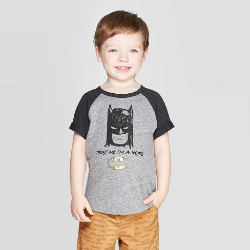 Toddler Boys' DC Comics 'Trust Me I'm A Hero' Batman Short Sleeve T-Shirt - Gray - image 1 of 3