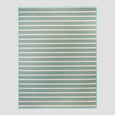 5' x 7' Reversible Stripe Outdoor Rug Turquoise - Threshold™
