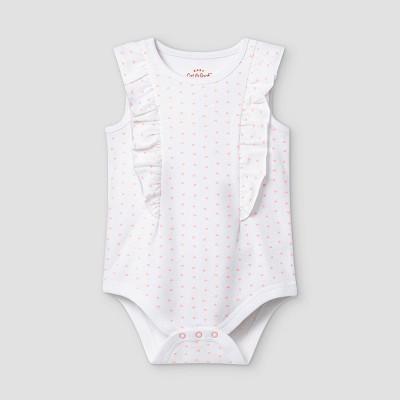 Baby Girls' Mini Heart Ruffle Short Sleeve Bodysuit - Cat & Jack™ White