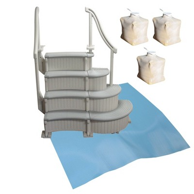 Confer Above Ground Pool Entry Step+ Add-on Steps + Protective Mat + Weight Bags