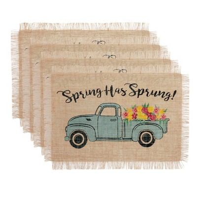 """Farmhouse Living Spring Has Sprung Vintage Farm Truck Burlap Placemat - Set of 4 - 13"""" x 19"""" - Natural - Elrene Home Fashions"""