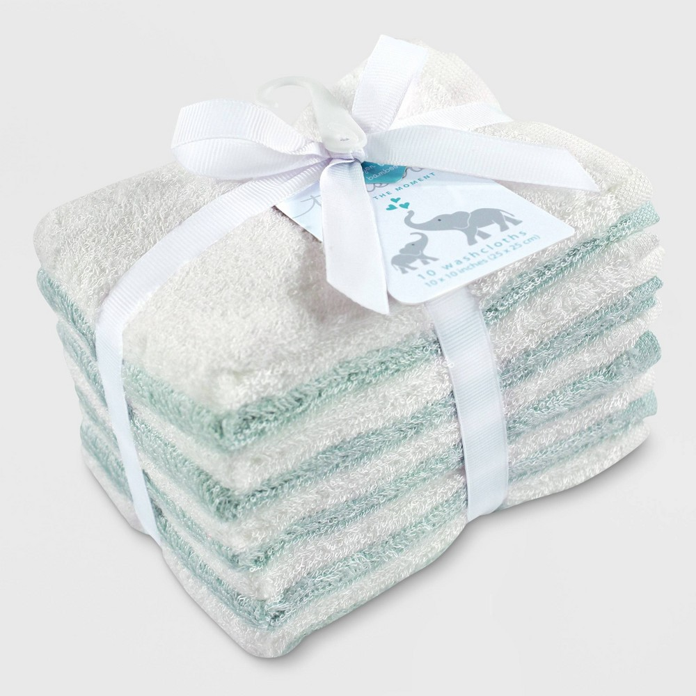 Image of Hudson Baby 10pk Rayon from Bamboo Washcloths - Teal/White One Size, Blue