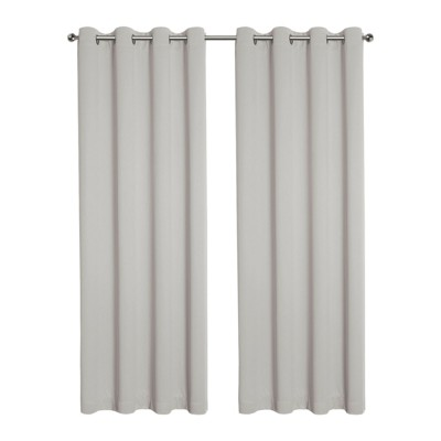 Kate Aurora Hotel Living 2 Pack 100% Blackout Grommet Top Ivory Beige Curtain Panels