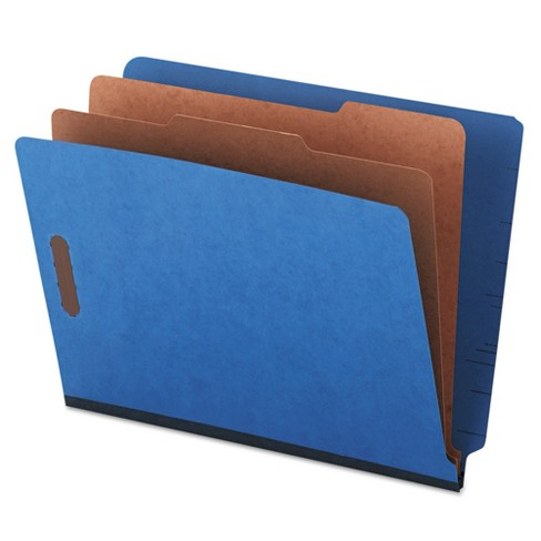 Universal® Pressboard End Tab Classification Folders, Letter, Six-Section, Blue, 10/Box - image 1 of 1