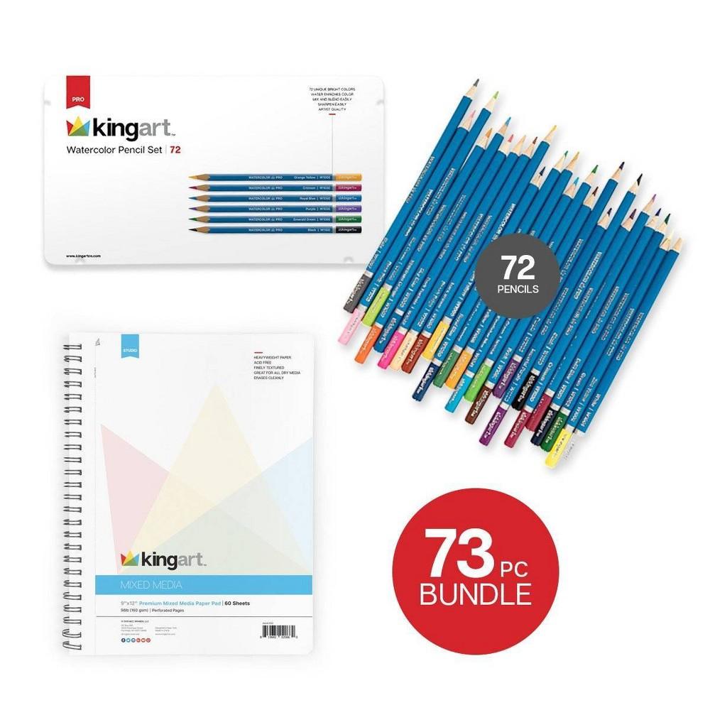 Image of Kingart 73ct Watercolor Pencils w/Spiral Notebook Bundle