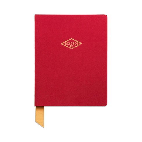 """Ruled Journal Cloth 6.7"""" x 8.5"""" Records Red Satin - DesignWorks Ink - image 1 of 4"""