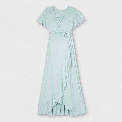 Flutter Short Sleeve Knit Wrap Maternity Dress - Isabel Maternity by Ingrid & Isabel™