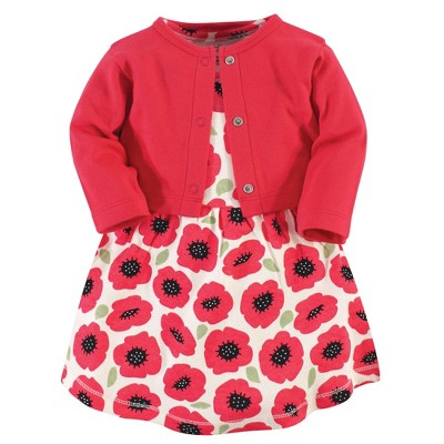 Touched by Nature Baby and Toddler Girl Organic Cotton Dress and Cardigan 2pc Set, Poppy