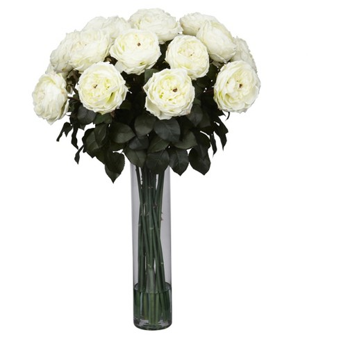 Fancy Rose Silk Floral Arrangement - White - Nearly Natural - image 1 of 1