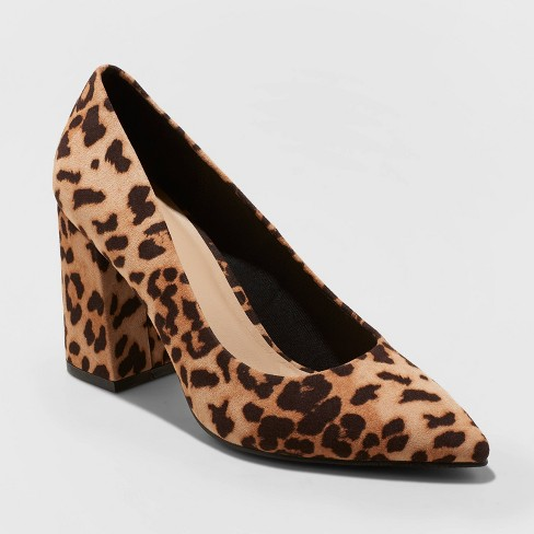 Women's Ana Microsuede Block Flared Heeled Pumps - A New Day™ - image 1 of 3