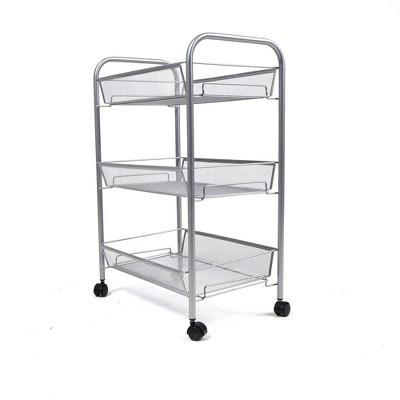 Mind Reader Rolling Metal Mesh 3 Shelf Cart
