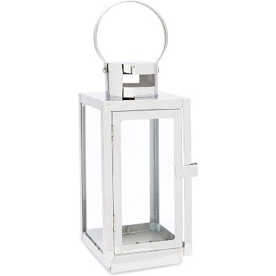 Juvale Lantern Candle Holder Decor for Tealights, Pillar, Votive, Silver and Glass, 10""
