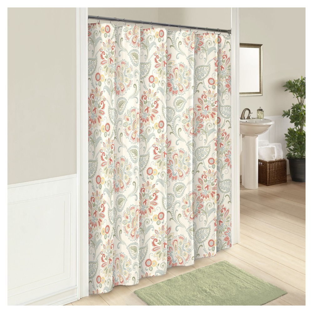 Image of Carlisle Botanical Shower Curtain Red/White - Marble Hill