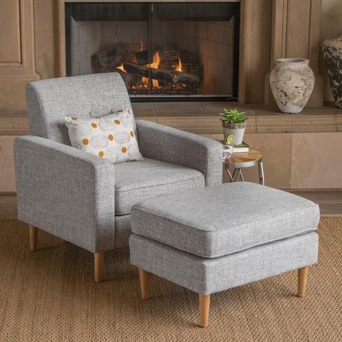 Sawyer Mid Century Modern Club Chair And Ottoman Set Tweed Light