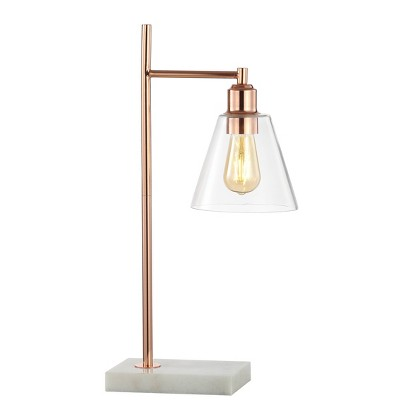 """22.25"""" Metal and Marble Lorena Modern Glam Table Lamp (Includes LED Light Bulb) Copper - Jonathan Y"""