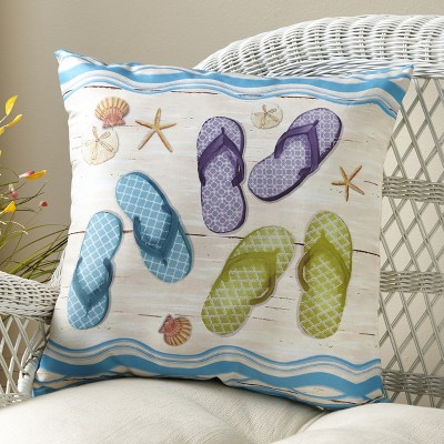 Lakeside Flip Flop Throw Pillows with Beachy, Nautical Theme for Vacation Homes