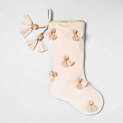 "20"" X 8"" Tassel Christmas Stocking Cream   Opalhouse™ by Shop This Collection"