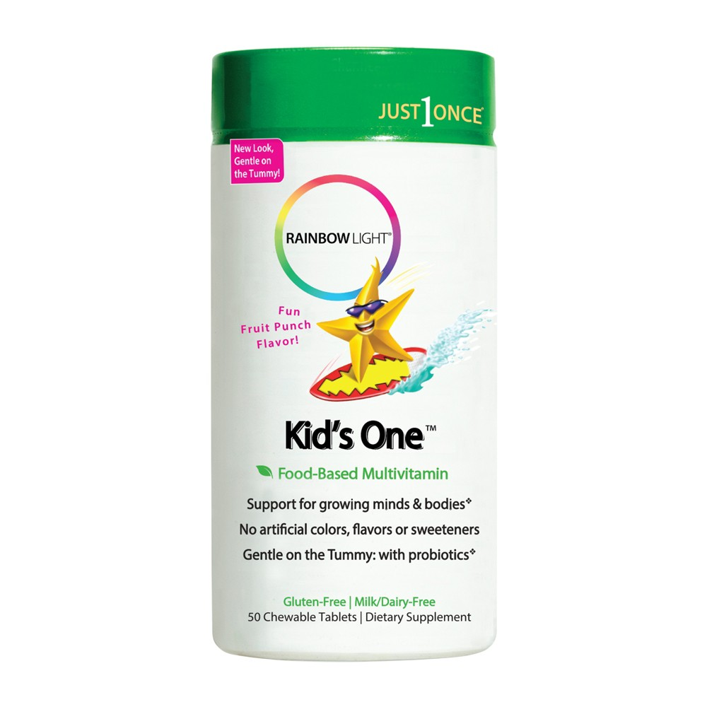 Rainbow Light Kids One Chewable Multivitamin Tablets - Fruit Punch - 50ct, Kids Unisex