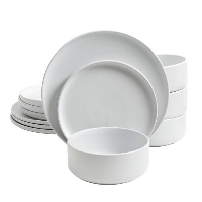Gibson Home 12pc Stoneware Stone Lava Dinnerware Set White