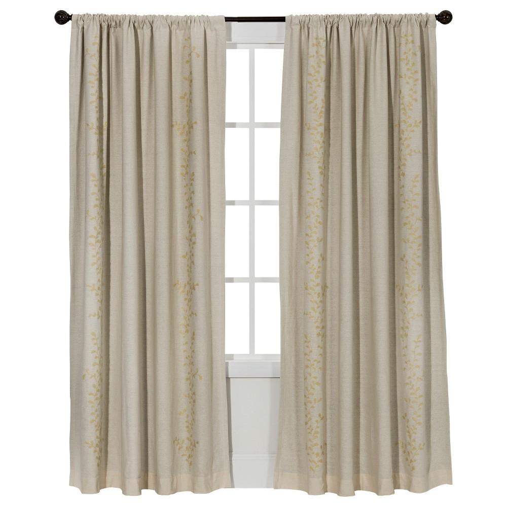 Embroidered Vine Light Blocking Curtain Panel Cream (Ivory) (54
