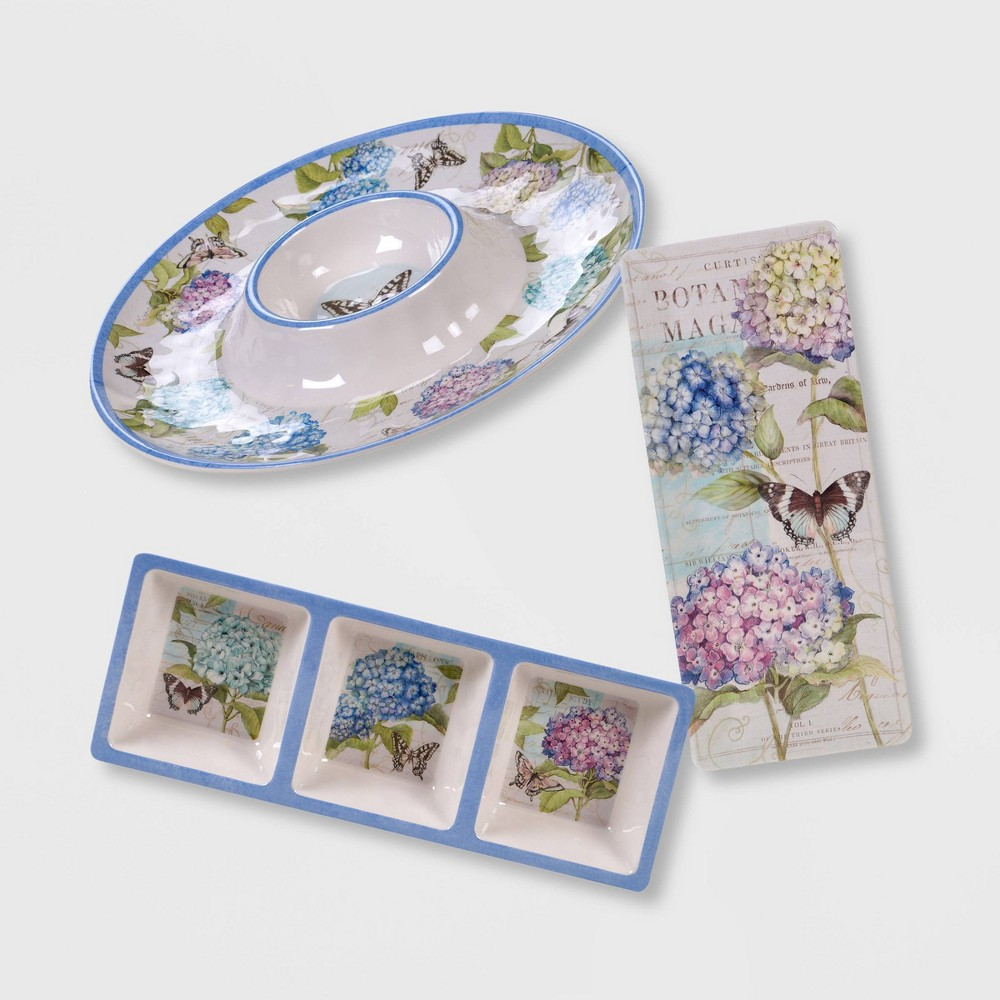 3pc Melamine Hydrangea Garden Hostess Set Blue/Purple - Certified International