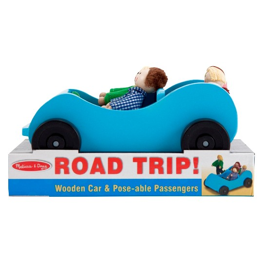Melissa & Doug Road Trip Wooden Toy Car and 4 Poseable Dolls (4-5 inches each) image number null