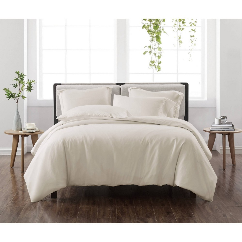 King 3pc Solid Duvet Cover Set Ivory Cannon