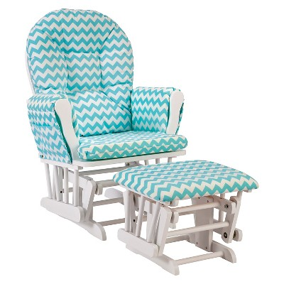 Stork Craft Hoop White Glider and Ottoman - Turquoise Chevron