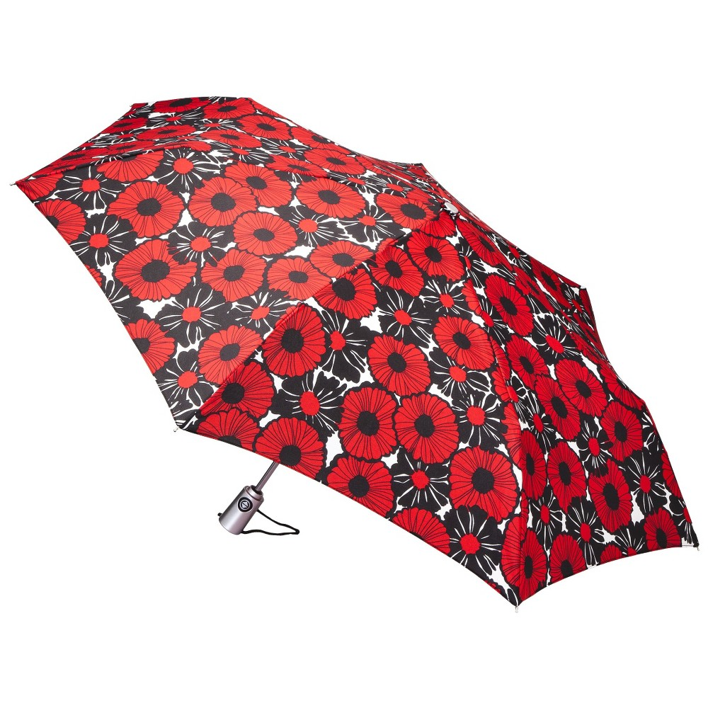 totes Auto Open Umbrella - Black/Red Poppies