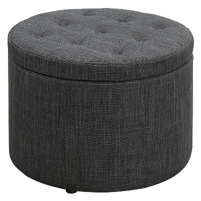 Johar Furniture Designs4Comfort Round Shoe Storage Ottoman Gray
