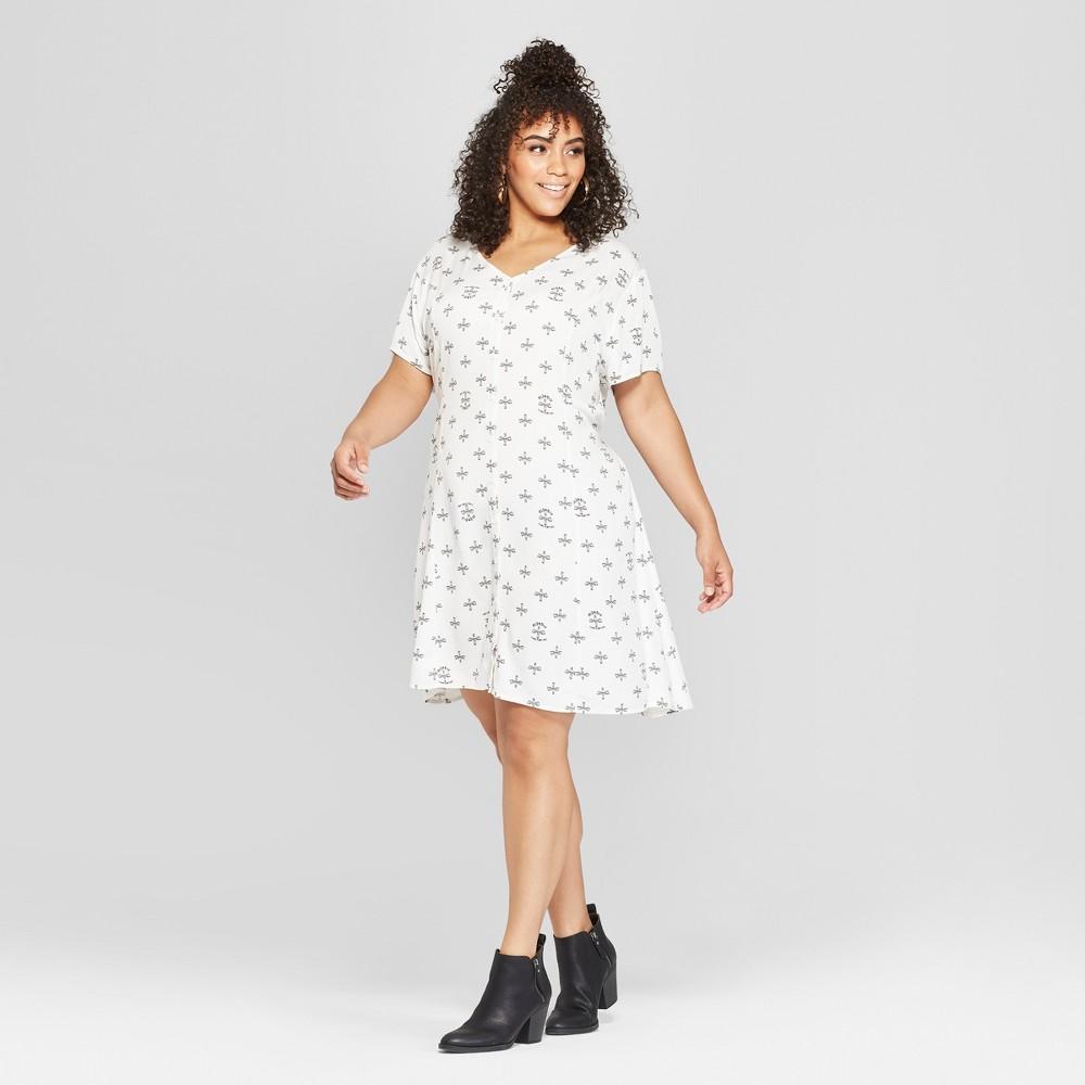 Junk Food Women's Plus Size Blondie Short Sleeve Empire Tie Waist Dress - White 3X, Size: Small was $34.0 now $10.19 (70.0% off)